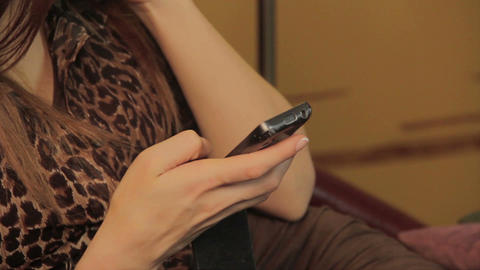 Woman checking updates old mobile phone, relationship, flirting Footage
