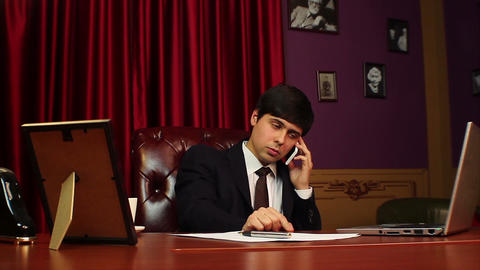 CEO businessman making a phone call, negotiations, career Footage