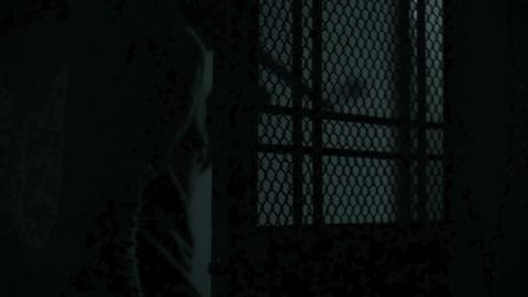 Dark figure holding knife, killer sneaking the house, violence Live Action