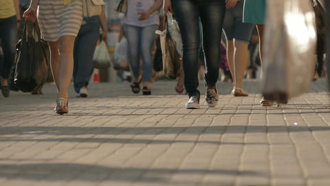 4K Ungraded: Citizens Walk on Cobbled Street on Hot Summer Day Footage