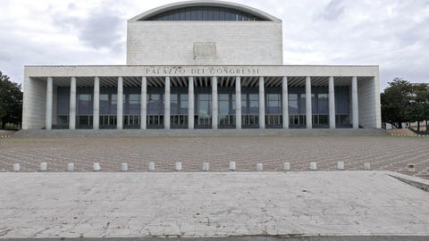 Palace of Congresses (Palazzo di Congressi). EUR district. Rome, Italy Live Action