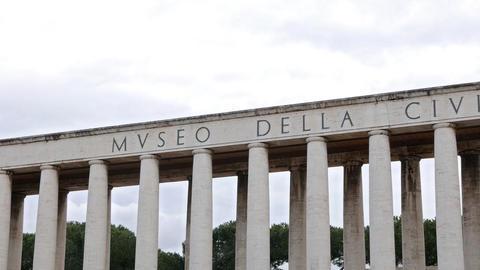 Colonnade. Museo della Civilta Romana. EUR district. Rome, Italy Footage