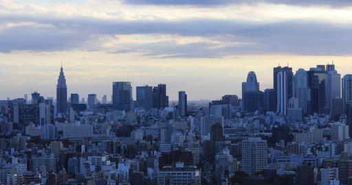 A dusk panoramic cityscape at the urban city in Tokyo wide shot Live Action