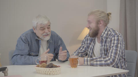 Positive elderly Caucasian man taking ear of adult son and waving finger Live Action