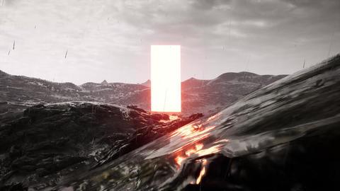 Lighthouse obelisk on an alien landscape. Alien landscape. Cosmic illustration Live Action