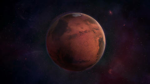 Red planet Mars in dark blue space Animation