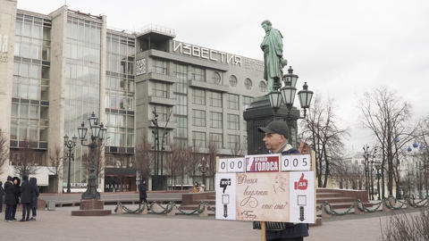 Single picket at the monument to Pushkin Live Action