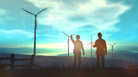Engineers are watching from the hill over the work of wind farms Animation