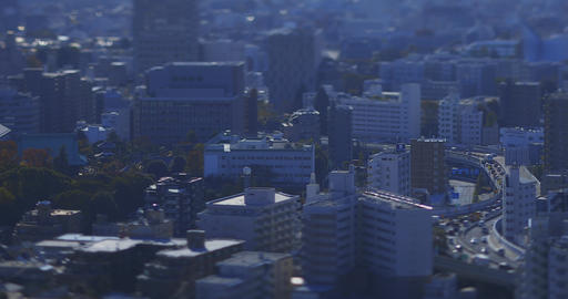 A miniature cityscape at the urban city in Tokyo daytime high angle tiltshift Live Action