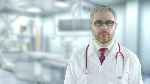 Portrait of a confident doctor in the modern operating room. Shot on Red camera Live Action