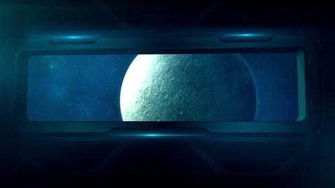 View of the moon from the porthole of a spaceship Animation