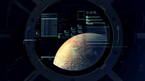 Flight calculations on the background of the moon in the porthole Animation