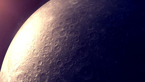 The camera flies up to the well-detailed surface of the moon Animation