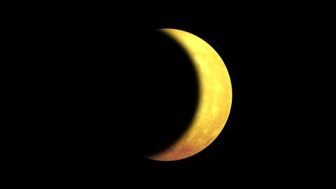 Illuminated partially rotating yellow moon - waxing crescent Animation