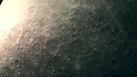 Close-up detailed surface of a rotating moon Animation