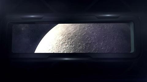 Spaceship flies in orbit of the moon Animation
