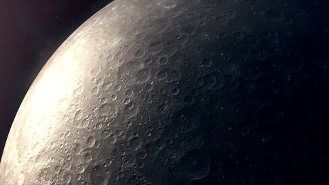 Flight of the camera over the surface of the moon Animation