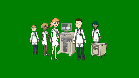 Group of Animated Doctors and Medical Staff on Green Screen: Loop + Matte Animation