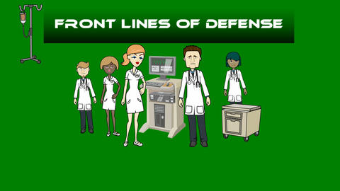 """Doctors and Medical Staff w/ Title, """"Front Lines of Defense"""": Loop + Matte Animation"""