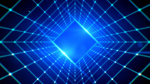 Square tunnel grid line and blue lights abstract background with copyspace for retro technology Photo