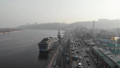Kyiv / Ukraine - October 25 2019: Smog old city promenade aerial high angle traffic pollution Live Action