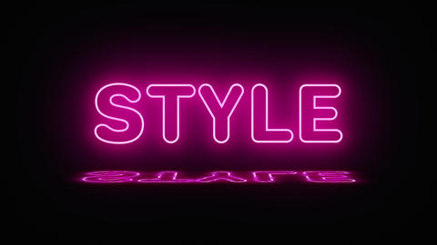 A neon sign with the word style lights up pink. Reflection appears in a puddle Live Action