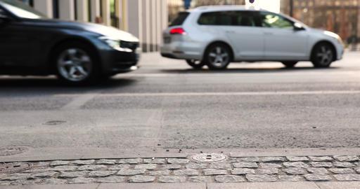 German street Frankfurt city Focused on the asphalt Rich city Europe Live Action