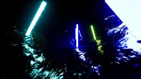 Neon futuristic landscape. Urban landscape. Digital design Live Action
