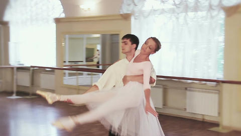 Pas de deux in slow motion, couple dancing classical ballet Footage