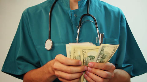 Medical worker counting money, corruption, expensive healthcare Footage