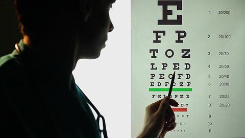 Ophthalmologist testing patient's eyesight, eye examination Footage