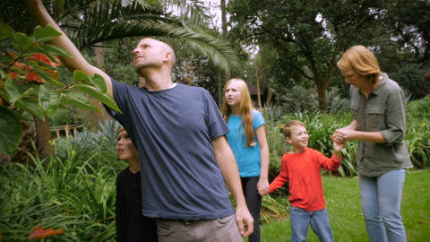A family of five walk through a park looking at and smelling plants - slowmo ste Footage