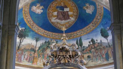Inside in Basilica di Santa Croce in Gerusalemme. Rome, Italy Footage