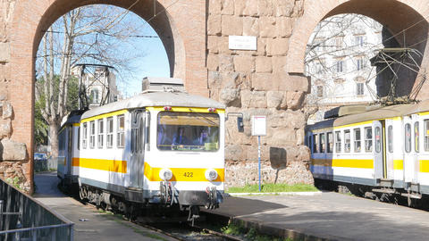 Yellow tram in Rome. Italy Footage