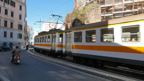 Tram with three wagons, Rome. Italy Live Action