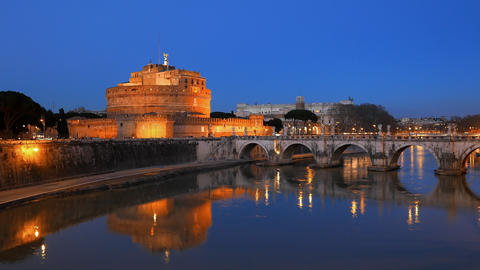 Sant'Angelo, on the banks of the Tiber. Evening, Rome. Italy Footage