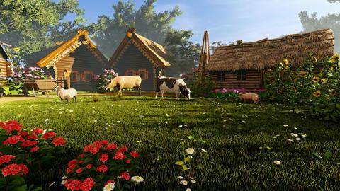 Animals in the village yard Animation