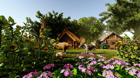 Flowers and village house Animation
