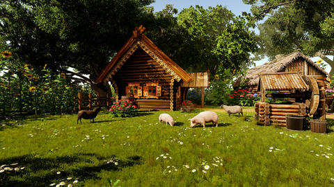 Village house and various animals Animation