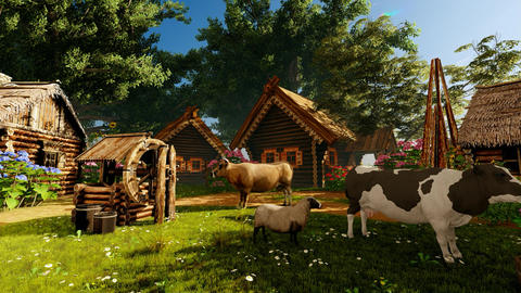 Village house and various animals in the yard Animation