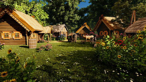 Village house and buildings Animation