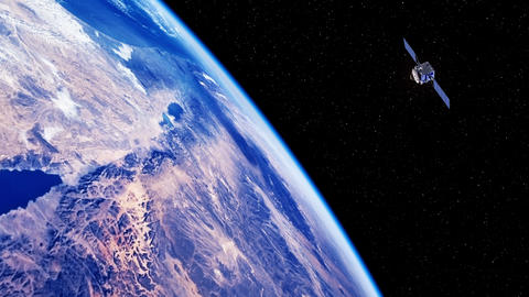 Space Satellite Exploring The Surface Of The Earth Live Action