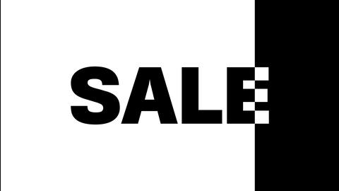 The word sale on a black and white background. On a black background in white Live Action
