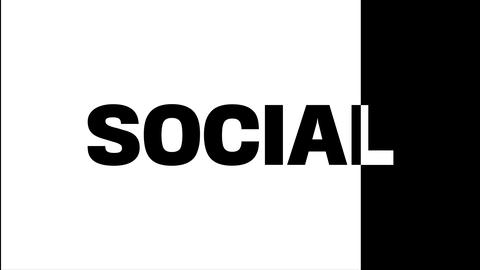 The word social on a black and white background. On a black background in white Live Action