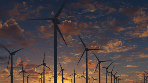 Farm windmills for energy production on a beautiful cloudy sunset Animation
