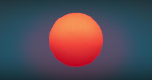Beautiful Huge Red Sunset-Sunrise Sun Close-up Animation Seamless. Big Red Hot Live Action