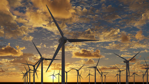 Beautiful animation of wind turbines at sunset Animation