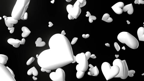 Falling white heart objects in black background. Cute heart-shape abstract animation Animation