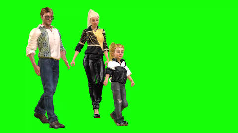 573 4k 3d animated avatar family together walking and running Animation