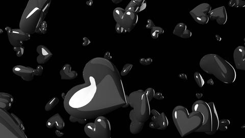 Falling black heart objects in black background. Cool heart-shape abstract animation CG動画